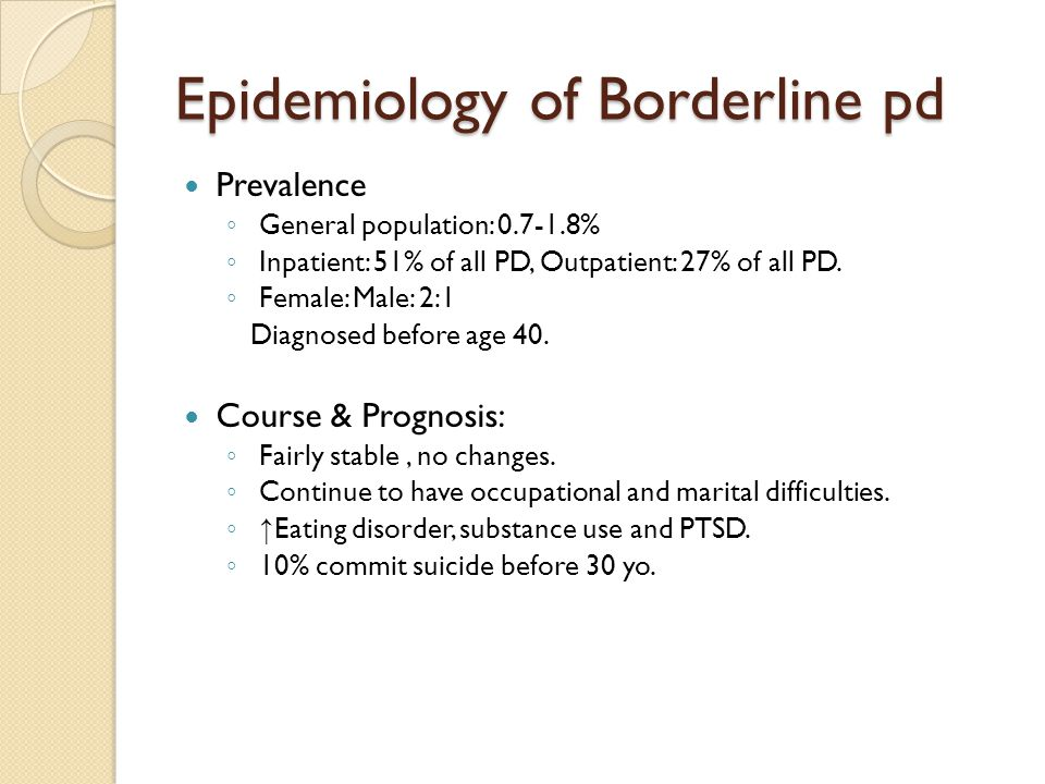 Epidemiology of Borderline pd