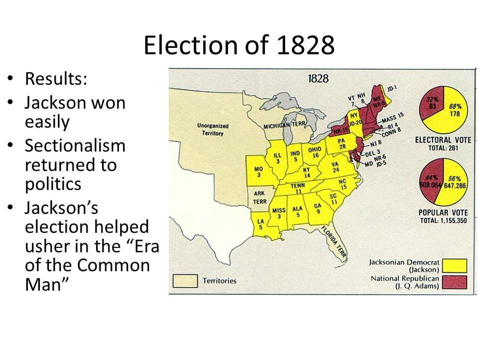 Election of 1828 Results: Jackson won easily