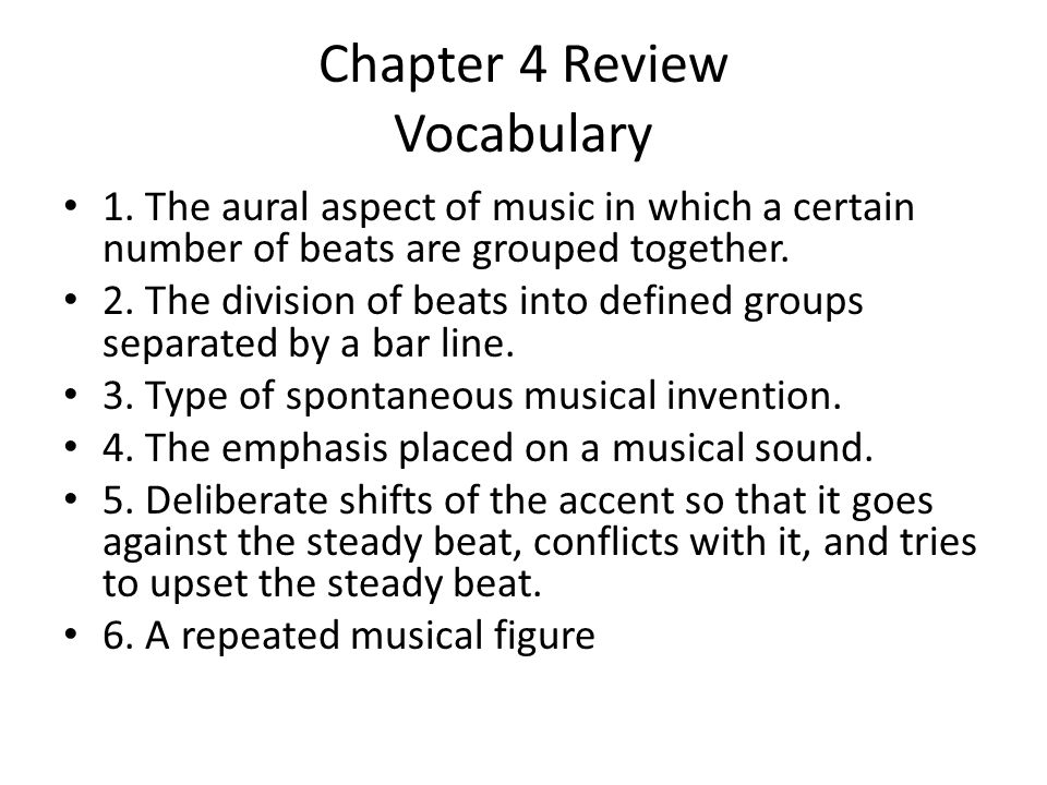 Chapter 4 Review Vocabulary
