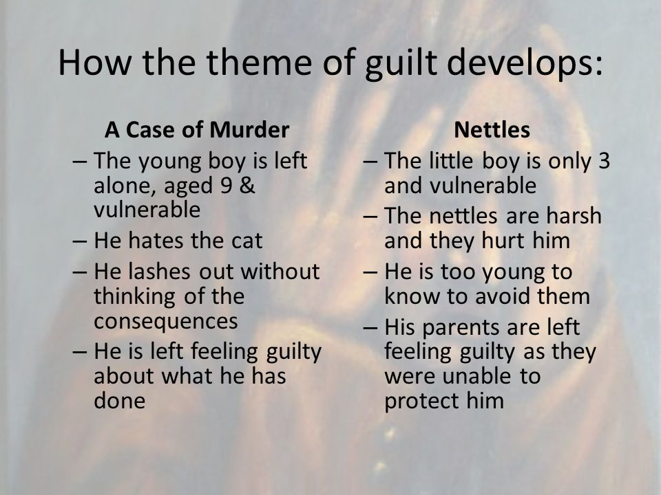 How the theme of guilt develops: