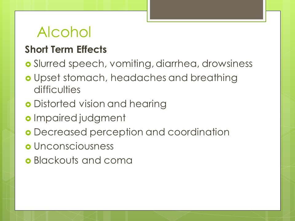 Alcohol Short Term Effects