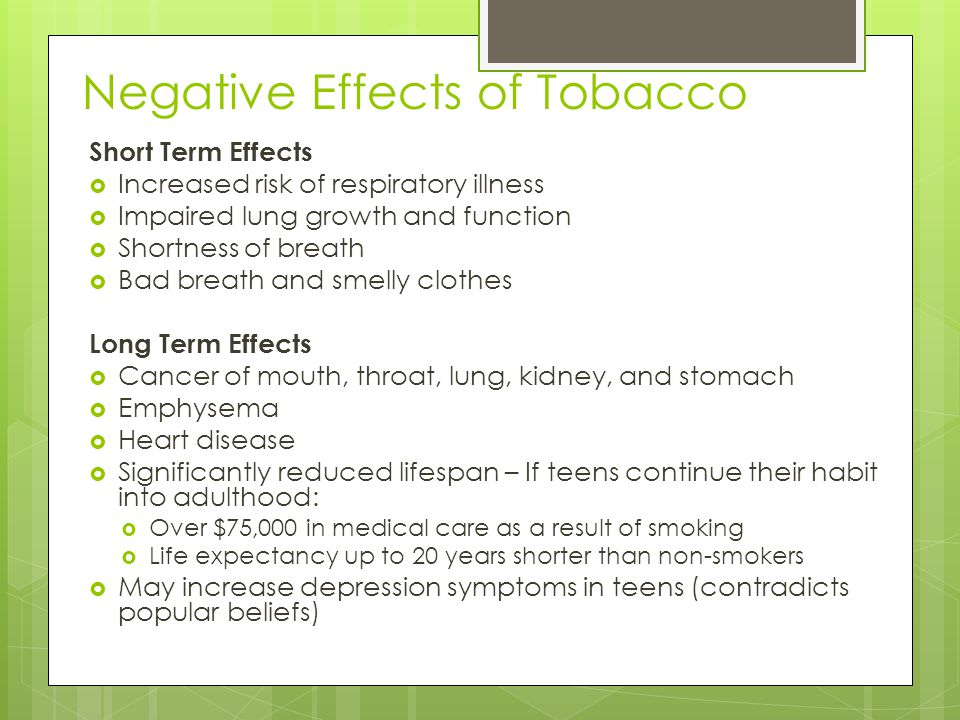 Negative Effects of Tobacco