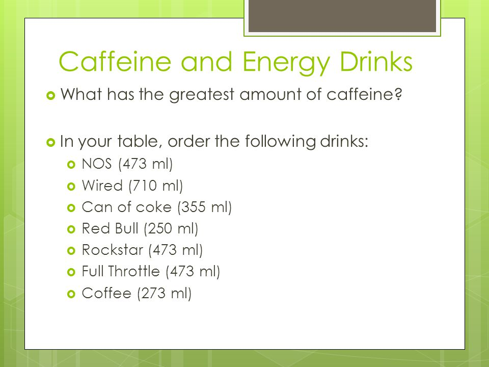 Caffeine and Energy Drinks