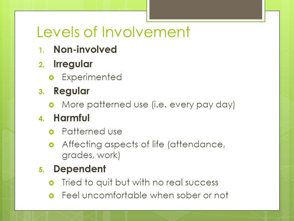 Levels of Involvement Non-involved Irregular Regular Harmful Dependent