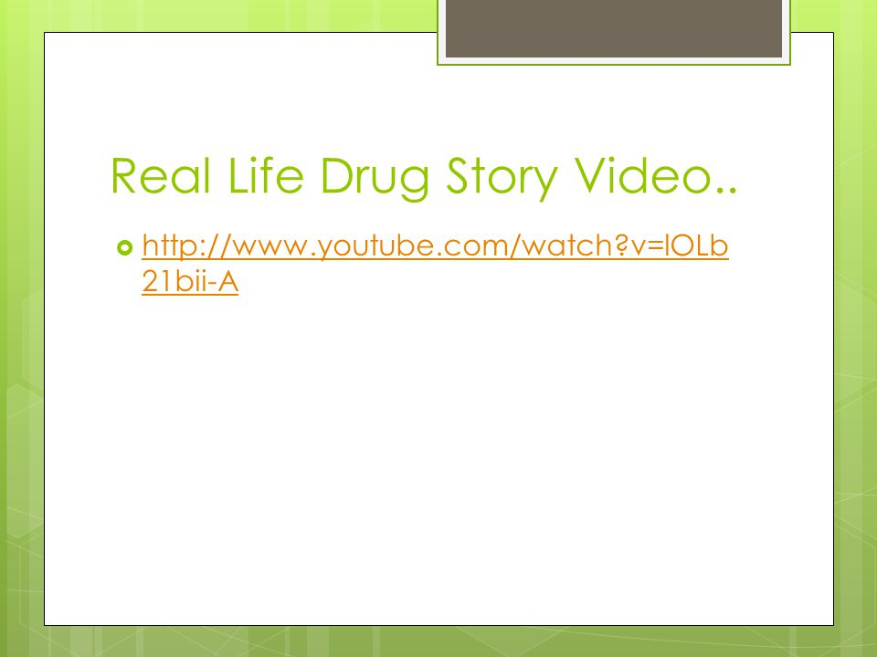 Real Life Drug Story Video..
