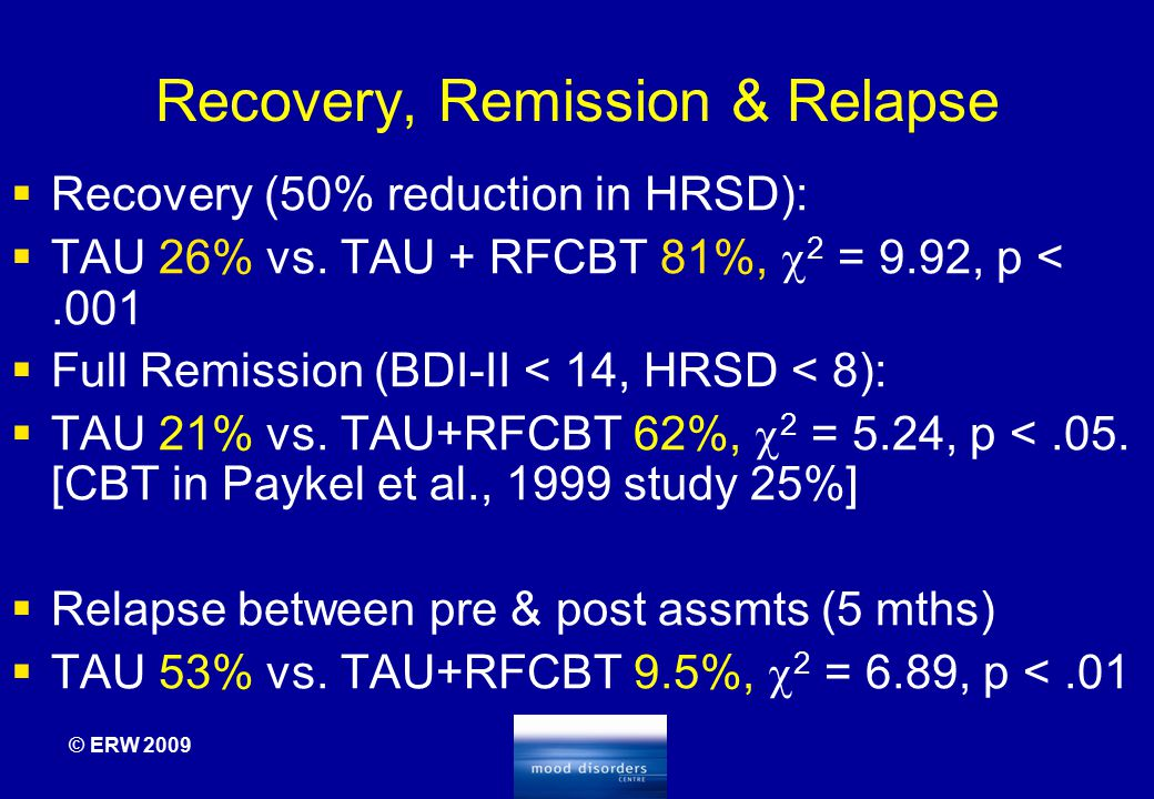 Recovery, Remission & Relapse