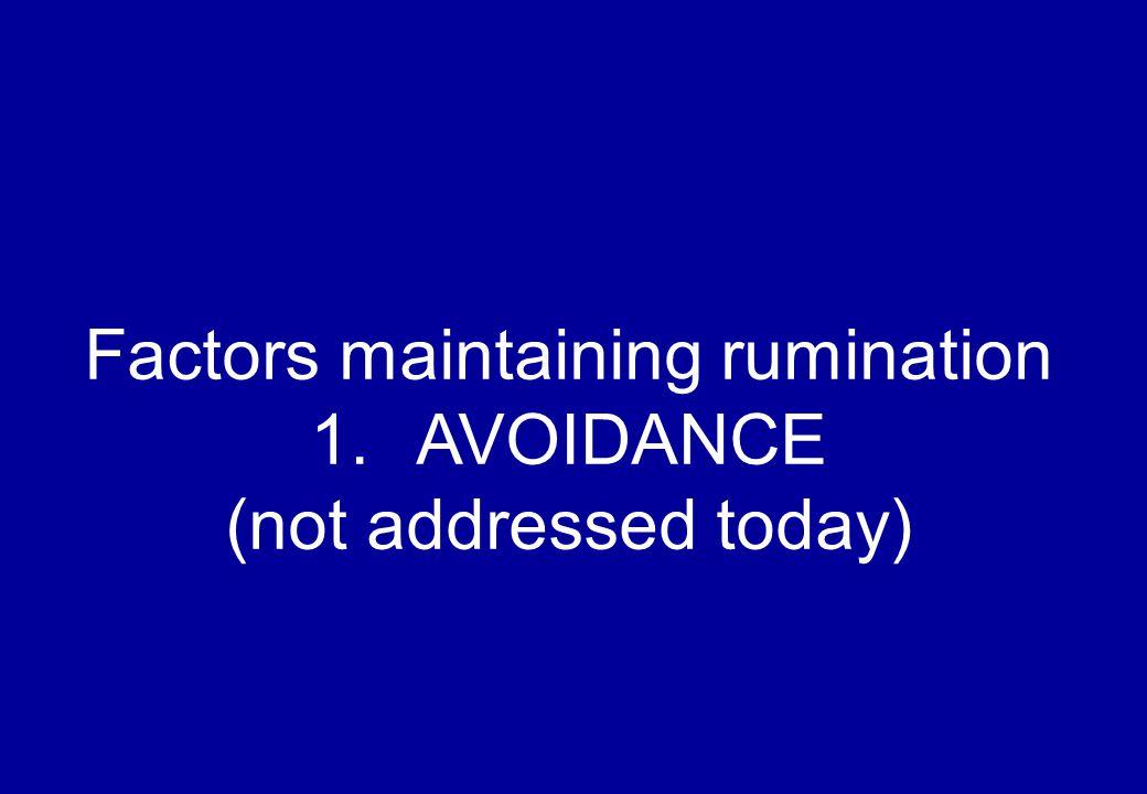 Factors maintaining rumination