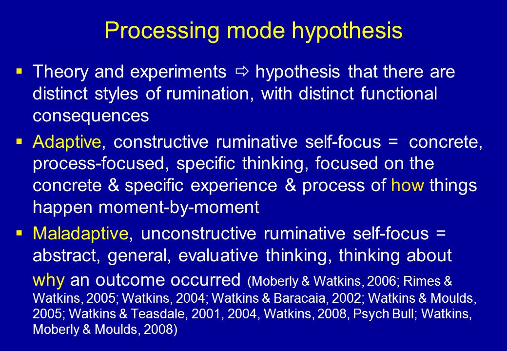 Processing mode hypothesis
