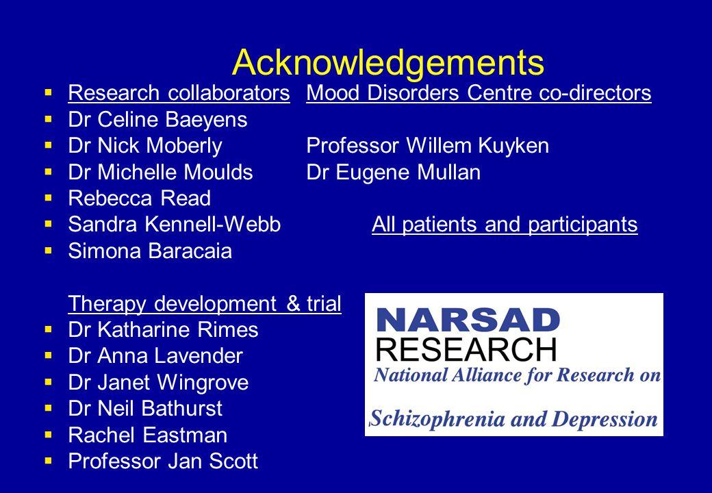 Acknowledgements Research collaborators Mood Disorders Centre co-directors. Dr Celine Baeyens. Dr Nick Moberly Professor Willem Kuyken.