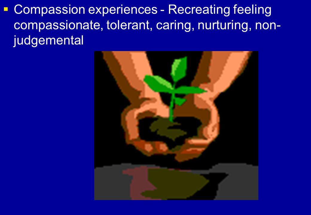 Compassion experiences - Recreating feeling compassionate, tolerant, caring, nurturing, non-judgemental