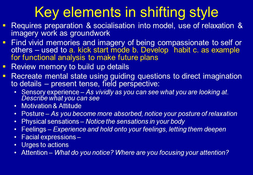 Key elements in shifting style