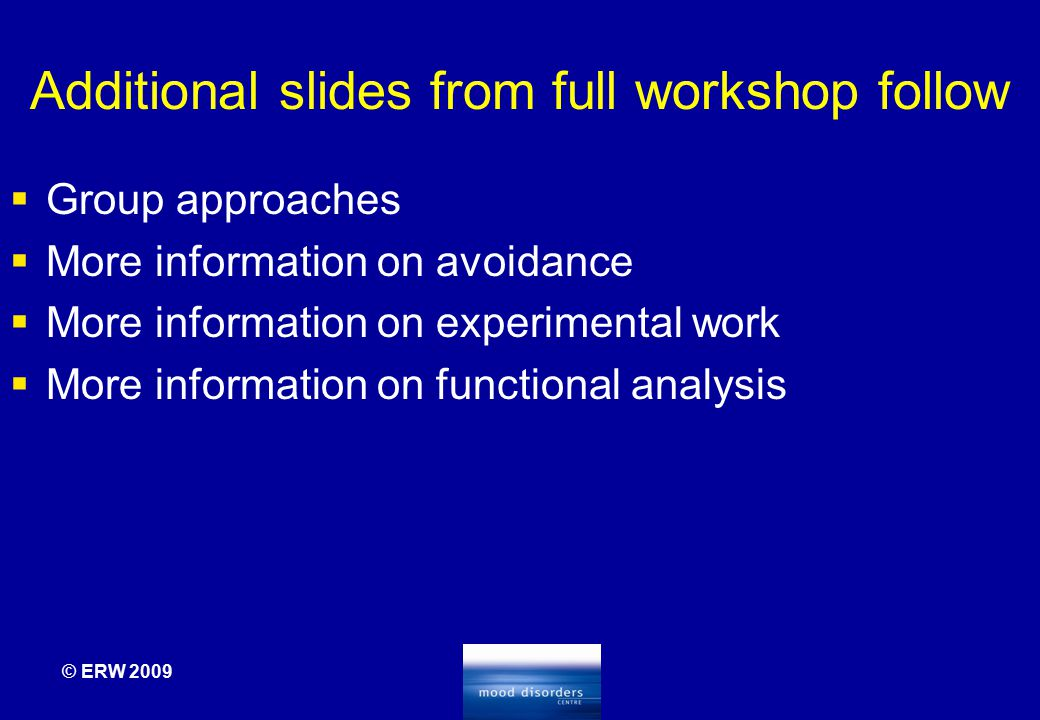 Additional slides from full workshop follow