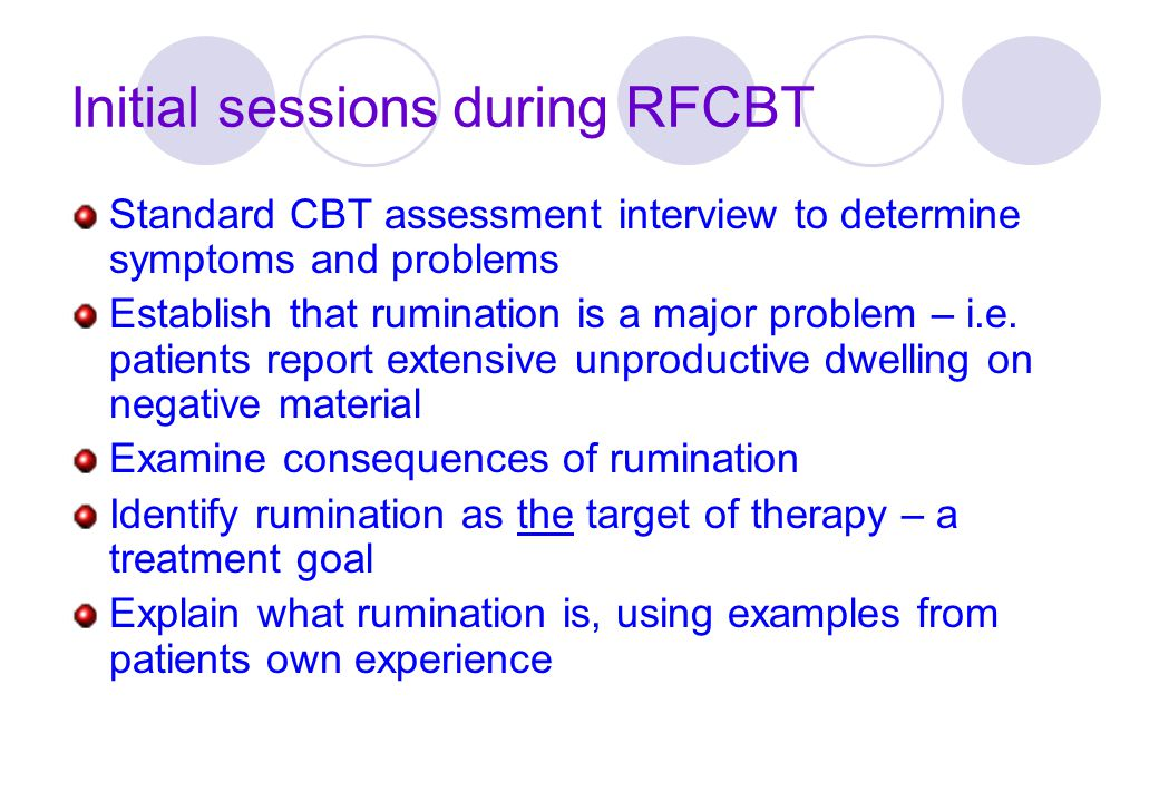 Initial sessions during RFCBT