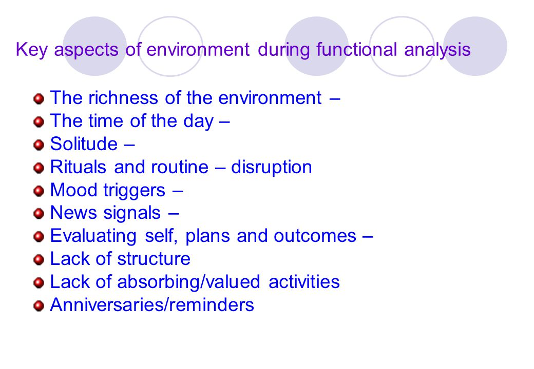 Key aspects of environment during functional analysis