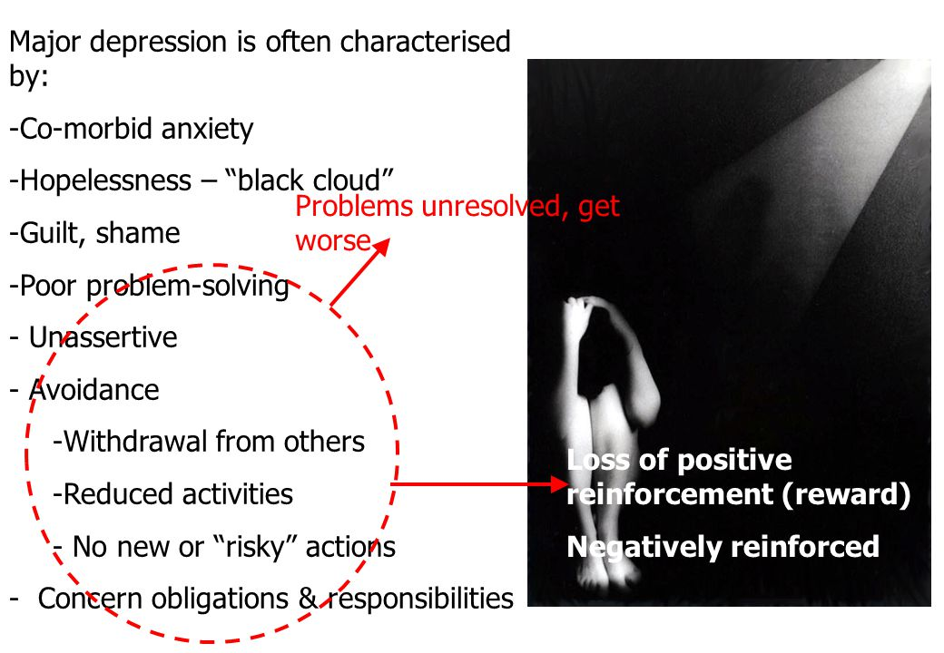 Major depression is often characterised by: Co-morbid anxiety