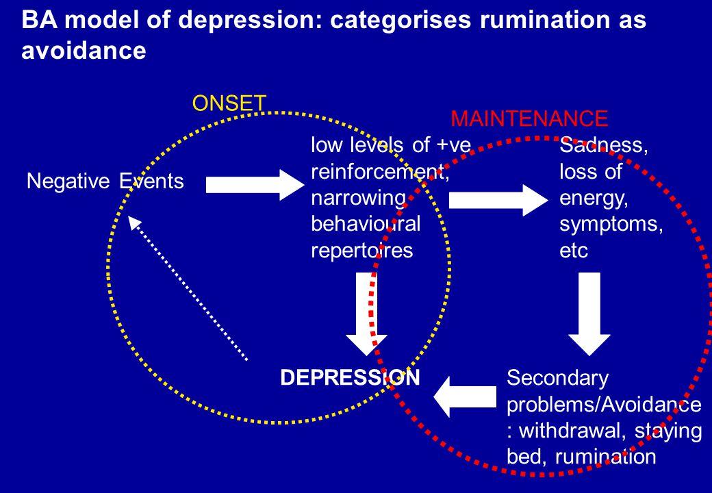BA model of depression: categorises rumination as avoidance