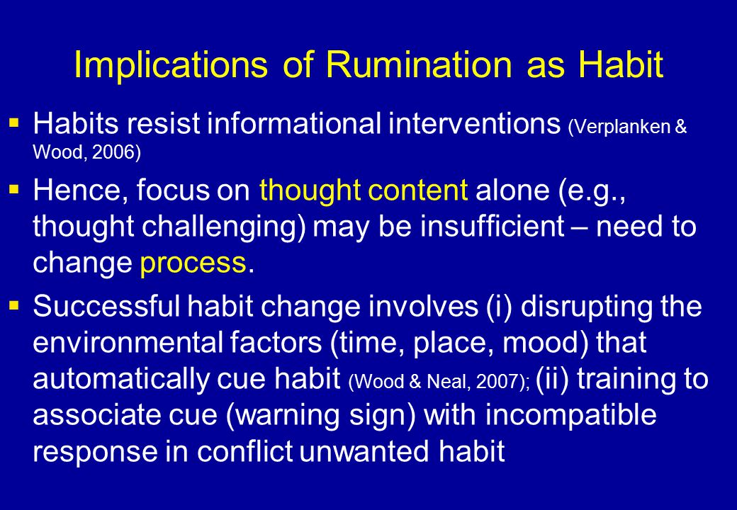 Implications of Rumination as Habit