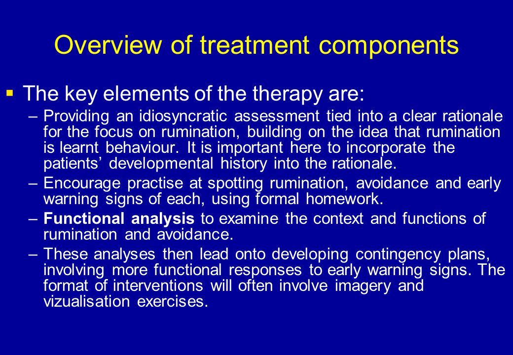 Overview of treatment components