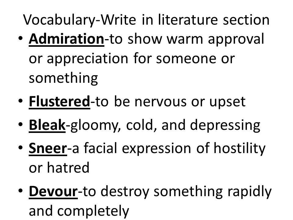Vocabulary-Write in literature section