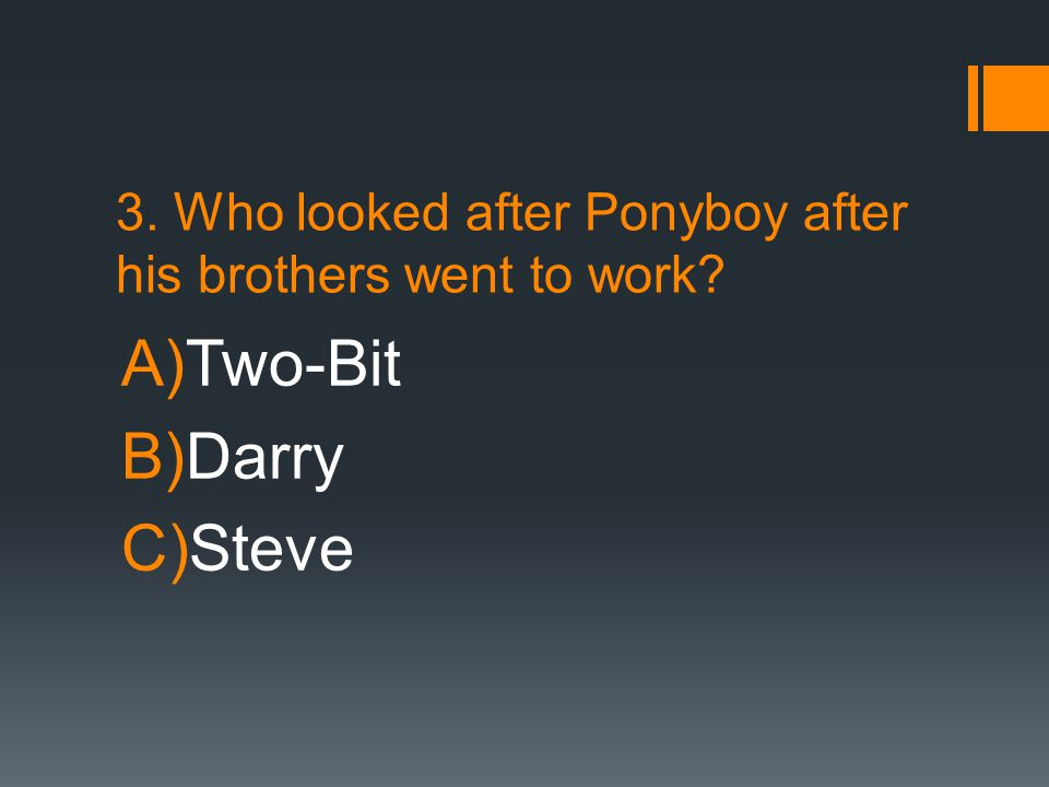 3. Who looked after Ponyboy after his brothers went to work