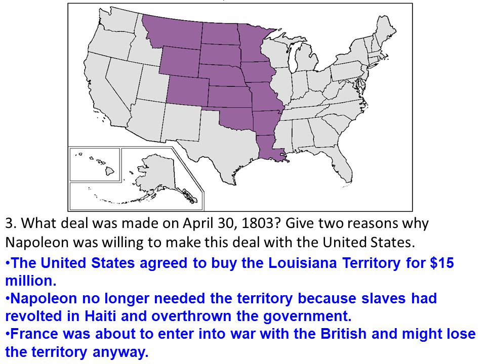 3. What deal was made on April 30, 1803