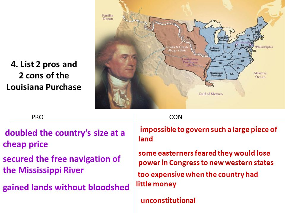 2 cons of the Louisiana Purchase