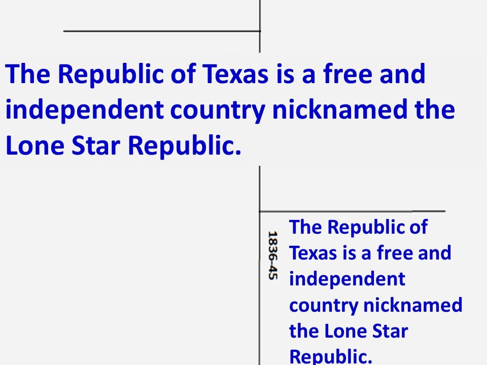 The Republic of Texas is a free and independent country nicknamed the Lone Star Republic.