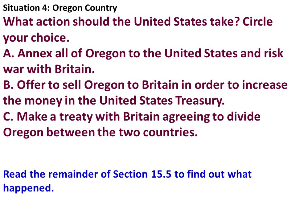 What action should the United States take Circle your choice.