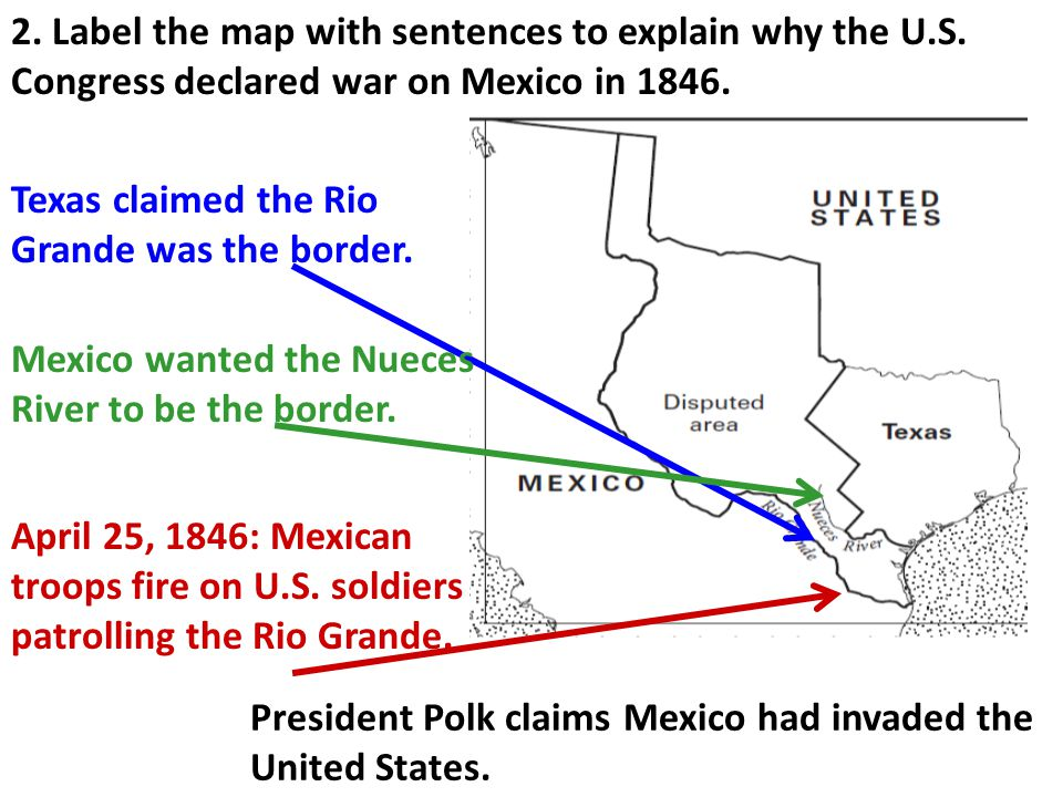 2. Label the map with sentences to explain why the U. S