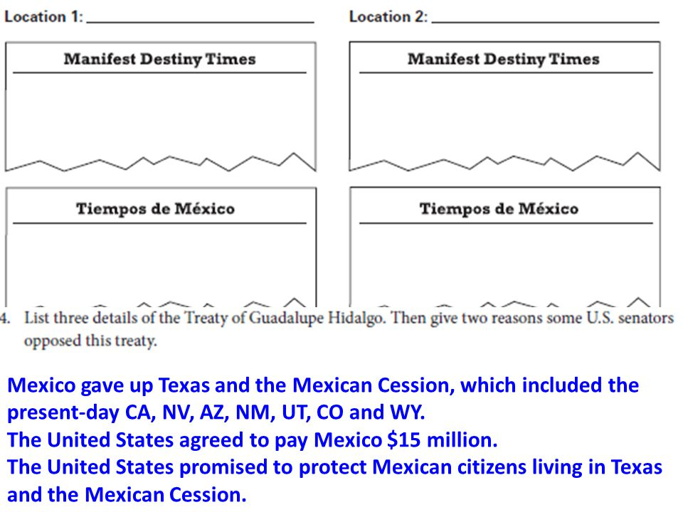 Mexico gave up Texas and the Mexican Cession, which included the present-day CA, NV, AZ, NM, UT, CO and WY.