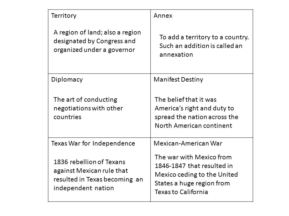 Territory Annex. Diplomacy. Manifest Destiny. Texas War for Independence. Mexican-American War.