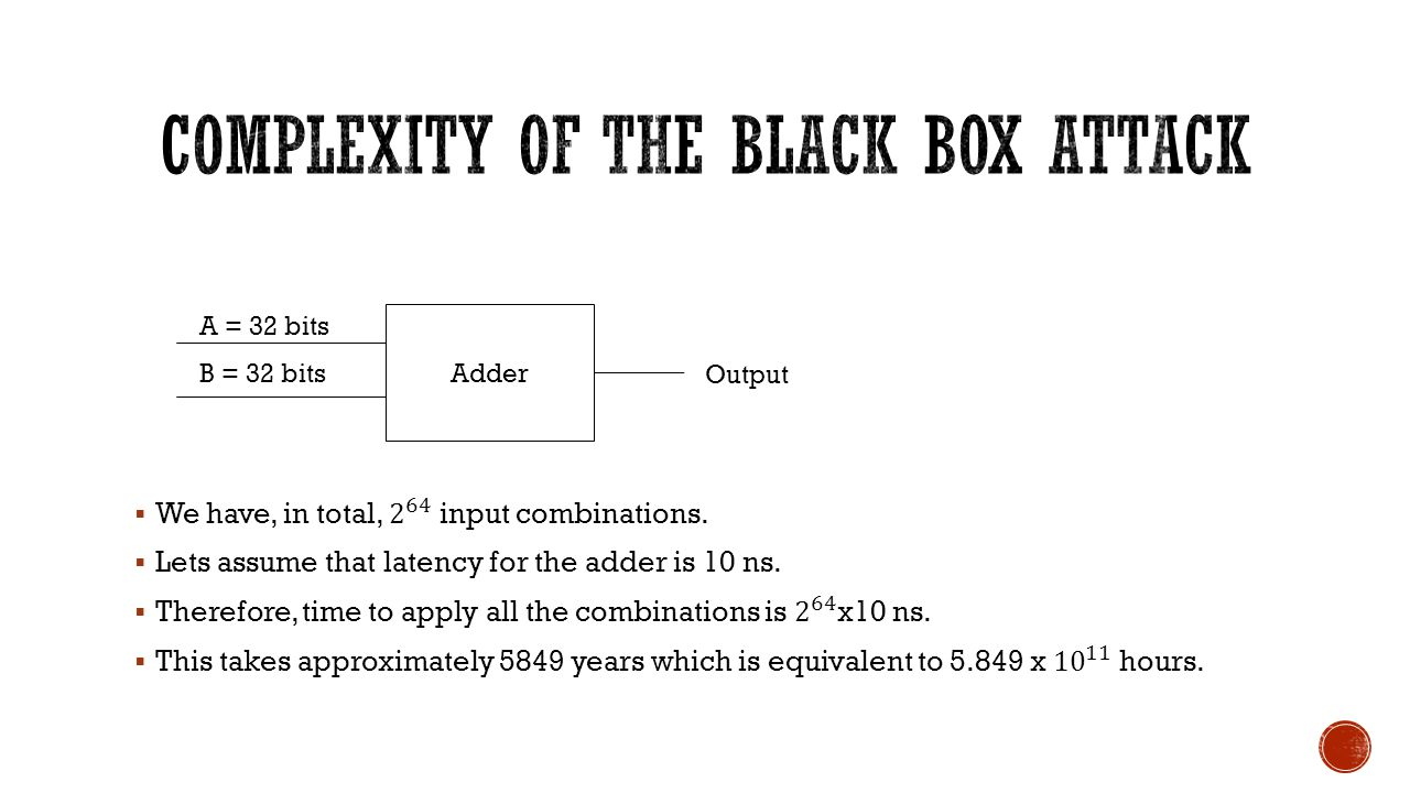 Complexity of the Black Box Attack