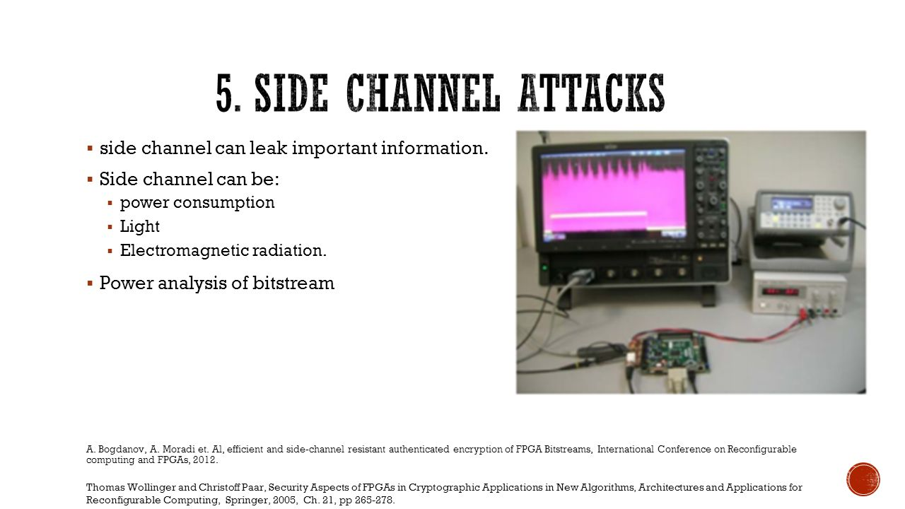 5. Side Channel Attacks side channel can leak important information.