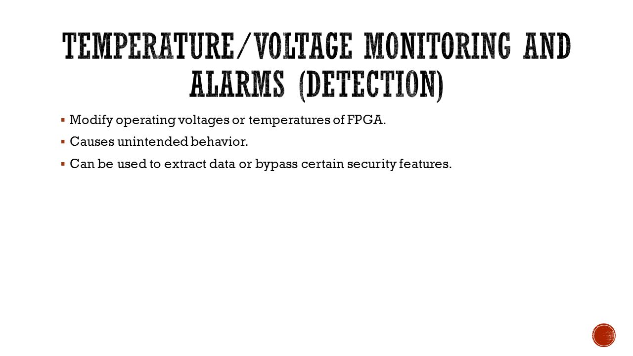 Temperature/Voltage Monitoring and Alarms (Detection)