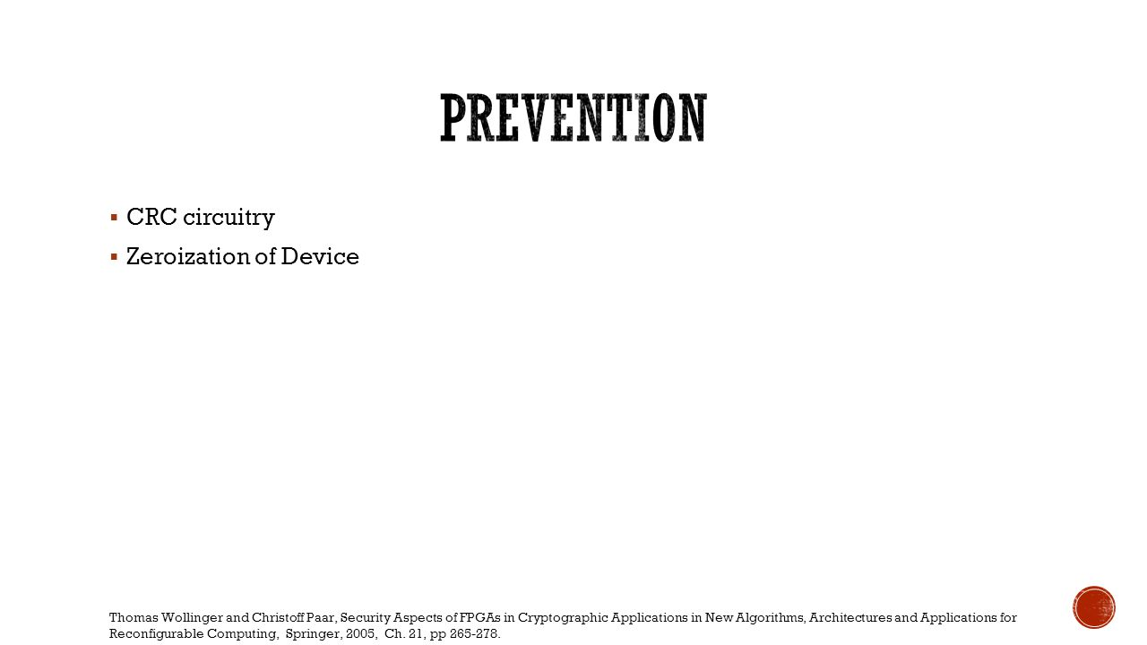 Prevention CRC circuitry Zeroization of Device