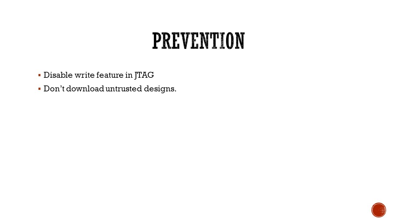 prevention Disable write feature in JTAG