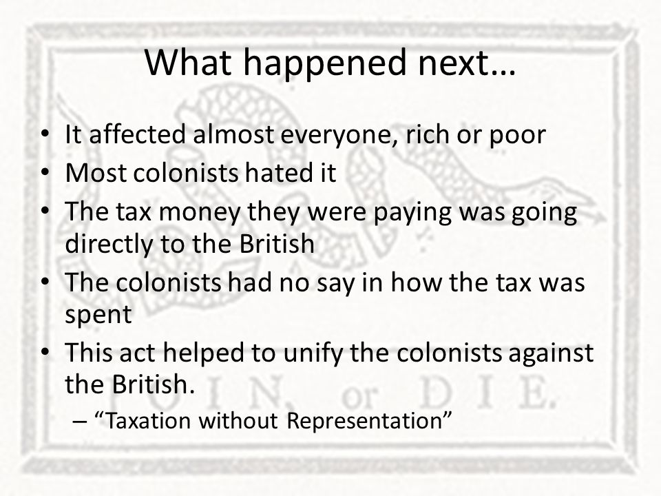 What happened next… It affected almost everyone, rich or poor