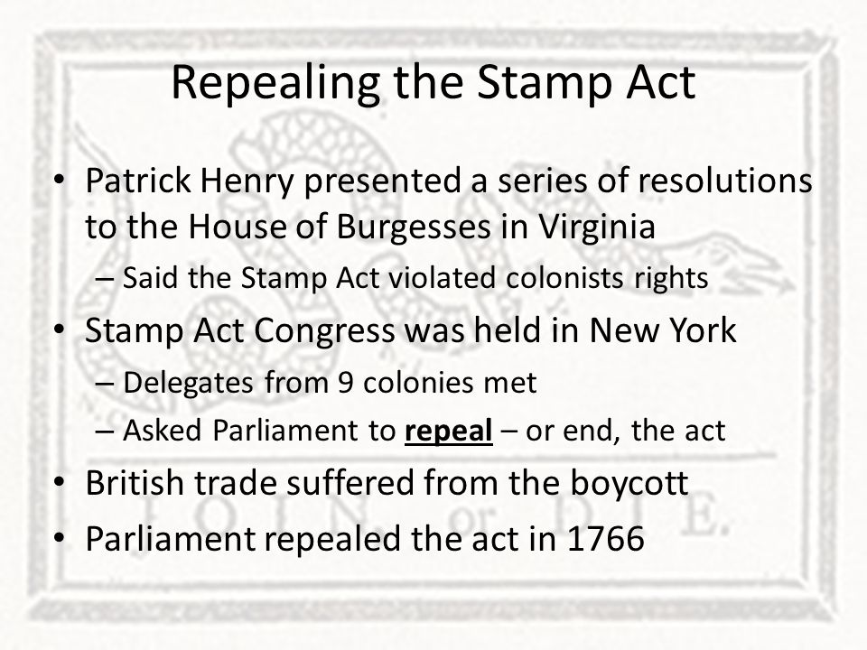 Repealing the Stamp Act