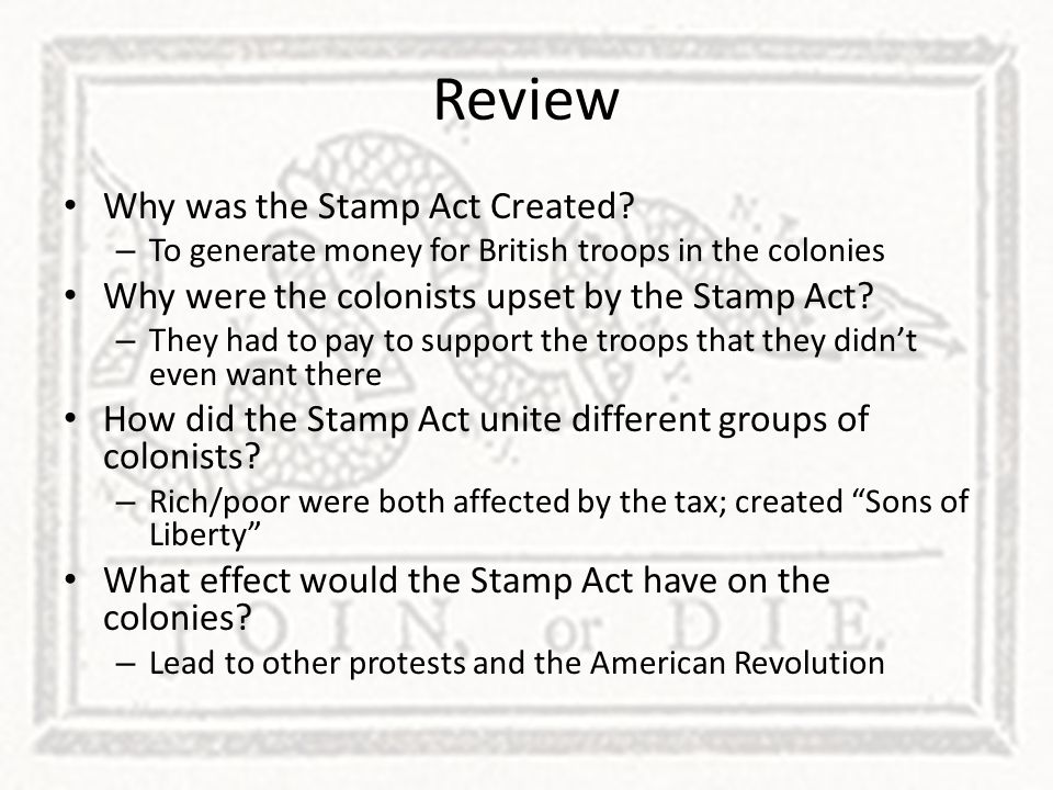 Review Why was the Stamp Act Created