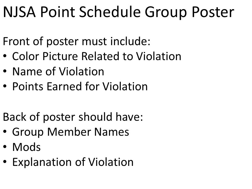 NJSA Point Schedule Group Poster