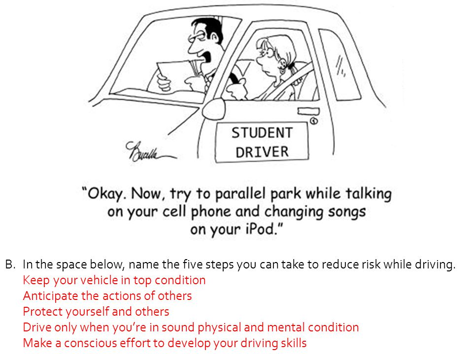 In the space below, name the five steps you can take to reduce risk while driving.