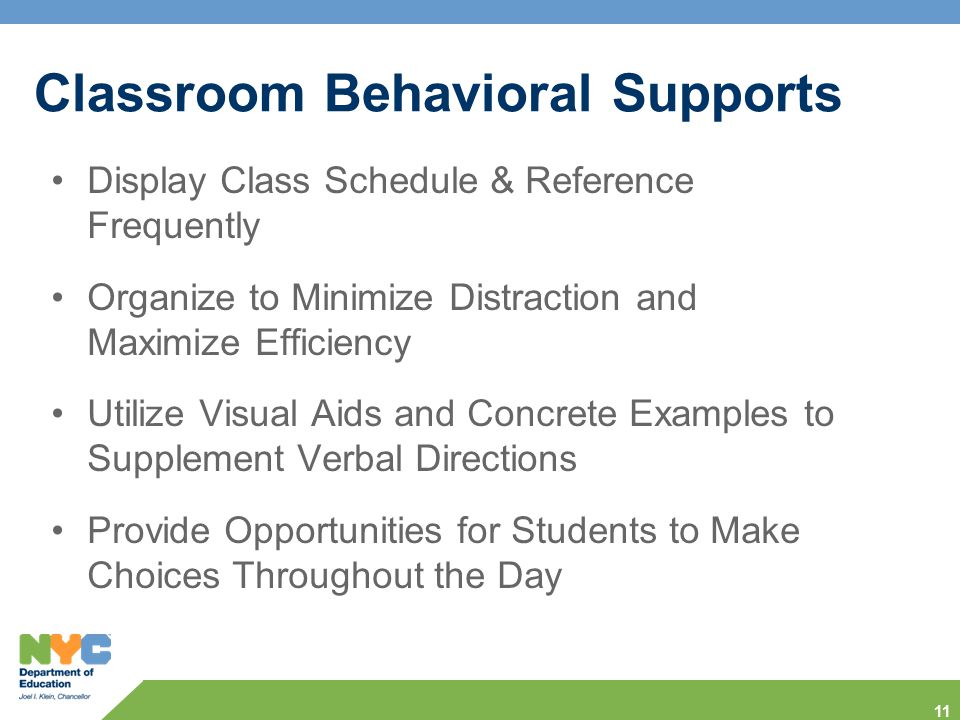 Classroom Behavioral Supports
