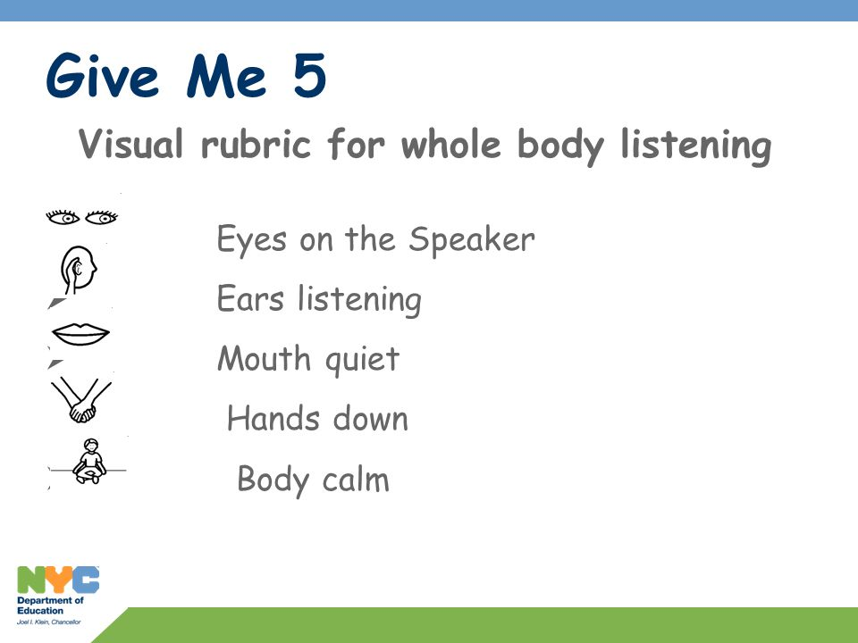 Visual rubric for whole body listening