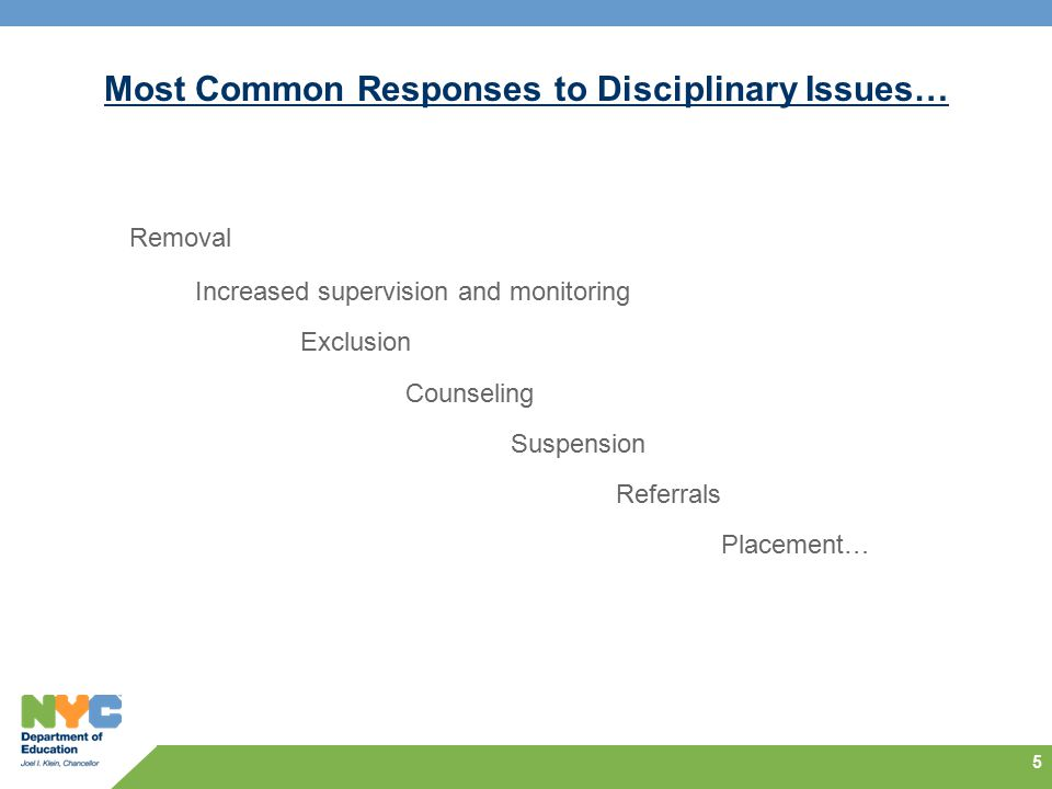 Most Common Responses to Disciplinary Issues…