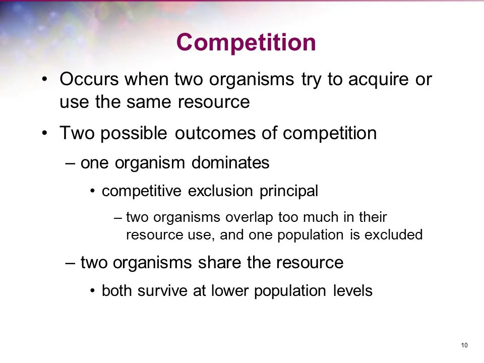 Competition Occurs when two organisms try to acquire or use the same resource. Two possible outcomes of competition.