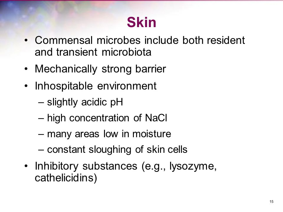 Skin Commensal microbes include both resident and transient microbiota