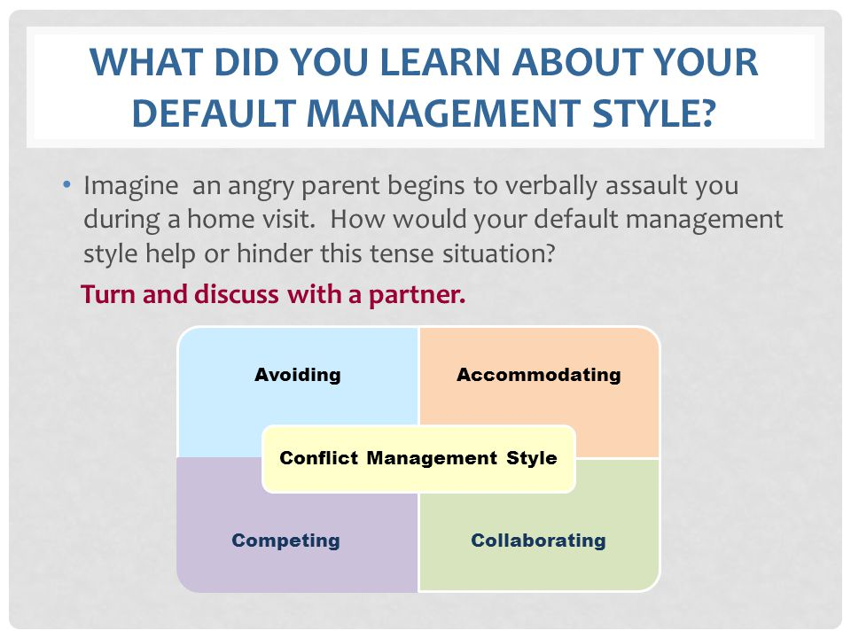 What did you learn about your default management style