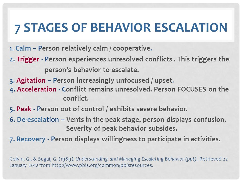 7 stages of behavior escalation