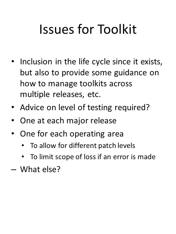 Issues for Toolkit