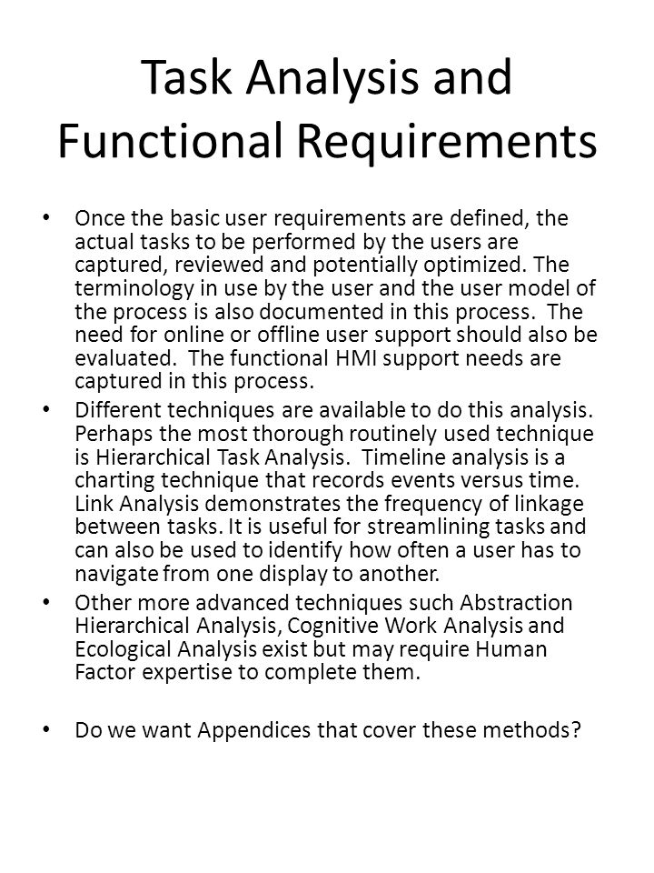 Task Analysis and Functional Requirements